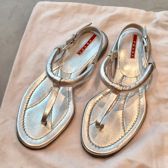 7c0d4768e69 Prada - Silver leather thong sandals (size 36)